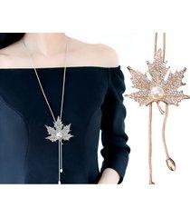 collana lunga ciondolo moda collana pendente acero foglia catenina gioiello per le donne