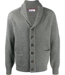 brunello cucinelli ribbed shawl collar cardigan - grey