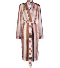 rick owens gradient silk belted coat - pink