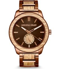 original grain men's whiskey barrel wood paired with an espresso stainless steel bracelet watch 46mm