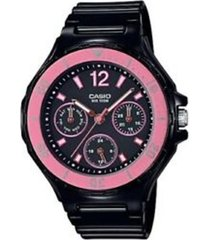 reloj analógico mujer casio lrw-250h-1a2 cronógrafo - negro