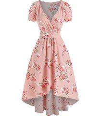 floral print high low midi surplice dress