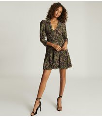 reiss ciara - animal print mini dress in khaki, womens, size 14