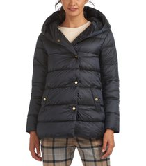 women's barbour lossie hooded puffer jacket, size 12 us - blue