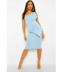 geplooide midi jurk met blote schouder, blue