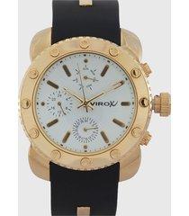reloj blanco-azul-dorado virox