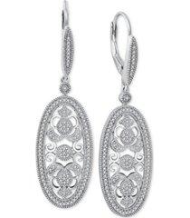 diamond decorative oval drop earrings (3/8 ct. t.w.) in sterling silver