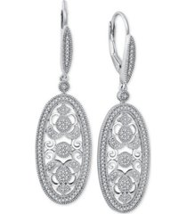 diamond decorative oval drop earrings (3/8 ct. t.w.) in sterling silver