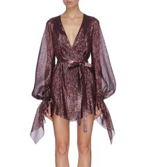 'hamberg' belted metallic glitter sheer dress