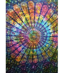 tie dye peacock feather mandala tapestry, beach towel, bohemian tapestry, indian