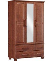 roupeiro bipartido 3 portas 4 gavetas e 1 espelho finestra linha ouro cor imbuia