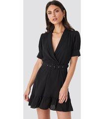na-kd belted puff sleeve mini dress - black