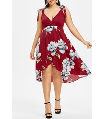 plus size tie shoulder flower surplice asymmetrical hem dress