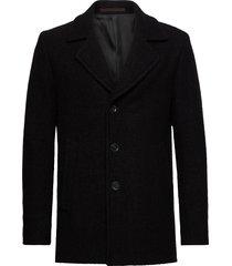 pike coat wollen jas lange jas zwart oscar jacobson