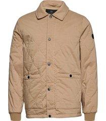 classic quilted cotton-blend jacket doorgestikte jas beige scotch & soda