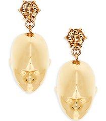goldtone & crystal doll head drop earrings