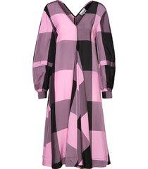 viscose check jurk knielengte roze ganni