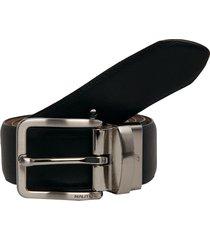 cinturón doble faz negro-miel nautica