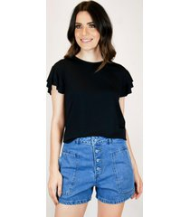 camiseta babados - preto - feminino - dafiti