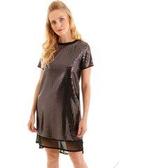 vestido aha tubinho com brilho sobreposto a transparencia prata