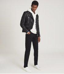 reiss tarrow - leather biker jacket in black, mens, size xxl