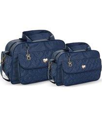 kit bolsas bebê maternidade azul marinho  amour 2 peças griff - tricae