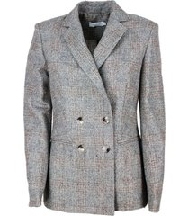 barba napoli double-breasted blazer jacket with buttons and welt pockets in wool and alpaca with check pattern effect