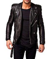 chaqueta de cuero negra clare