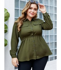 yoins plus size army green button design blouse
