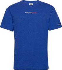 tjm linear logo tee t-shirts short-sleeved blå tommy jeans