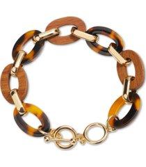 inc gold-tone tortoise-look & wood toggle bracelet, created for macy's