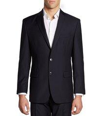 calvin klein men's hairline-striped slim-fit wool suit jacket - midnight - size 40 l