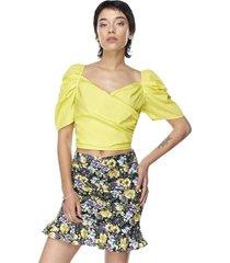 blusa crop manga corta globo amarillo mujer corona