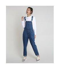 macacão jeans feminino relaxed azul escuro