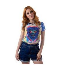 camiseta cropped feminina overfame lobisomem tie dye md41