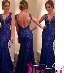 2015 royal blue long prom dress mermaid v neck backless lace sexy evening dress