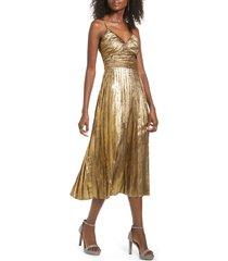 women's j.o.a. metallic pleated midi dress, size small - metallic