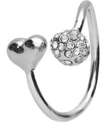 anello regolabile in metallo rodiato con cuore e pallina con strass per donna