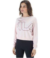 blusão fila studio train - feminino - rosa claro