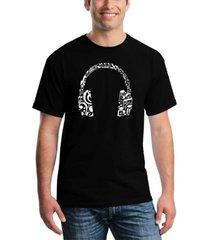 men's music note headphones word art t-shirt