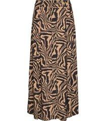 printed crepe skirt knälång kjol brun ganni