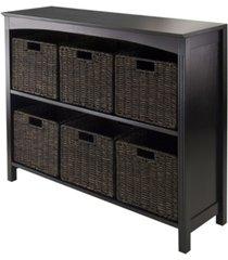 winsome 7pc storage 3-tier shelf with 6 small baskets