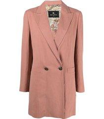 etro longline double-breasted blazer - pink