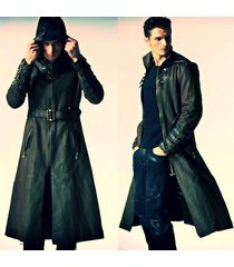 men leather coat winter long  leather coat genuine real leather trench coat-uk13
