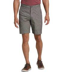 joseph abboud men's brown cotton and linen modern fit shorts - size: 40w