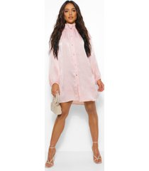 frill collar button down smock dress, rose