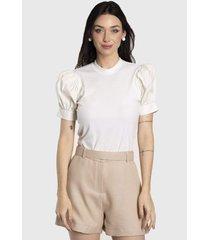 camiseta vértice com manga bufante branco - kanui