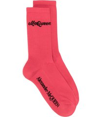 alexander mcqueen logo knitted socks - red