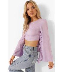blouse met ruches en rug strik, lilac