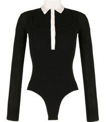 fleur du mal open-knit long-sleeved bodysuit - black